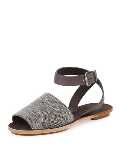 Brunello Cucinelli Beaded Ankle-Strap Flat Sandal