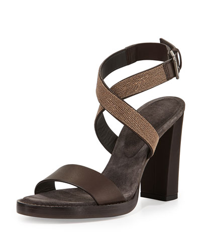 Brunello Cucinelli Halter-Wrap Monili Chain High-Heel Sandal, Espresso