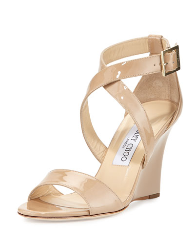 Fearne Patent Crisscross Wedge Sandal, Nude