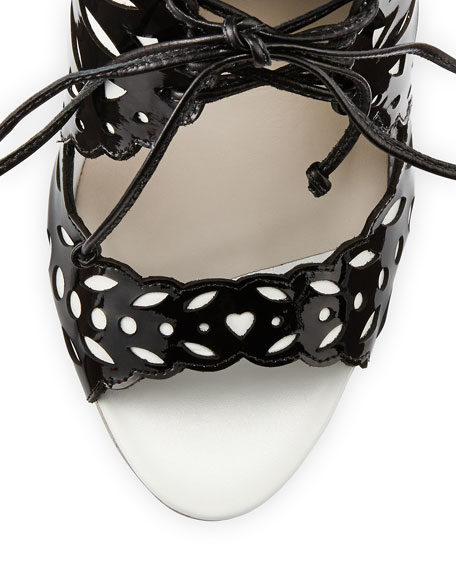 Keira Doily-Pattern Patent Sandal, Black/White