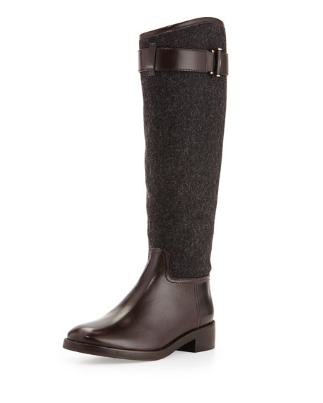 Tory Burch Grace Flannel & Leather Riding Boot, Gray
