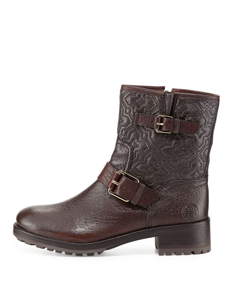 Chrystie Trapunto-Stitched Ankle Boot, Brown
