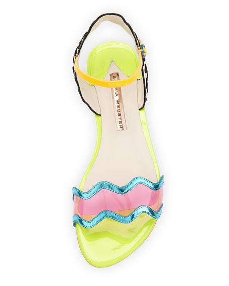Patti Multicolored Leather Flat Sandal, Eggnog/Black