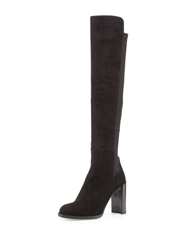 Stuart Weitzman Hijack Suede Stretch-Back Boot, Black