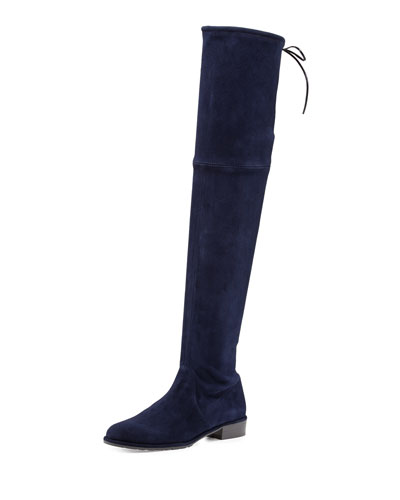 Lowland Suede Over-the-Knee Boot, Nice Blue