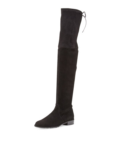 Lowland Suede Over-the-Knee Boot, Black