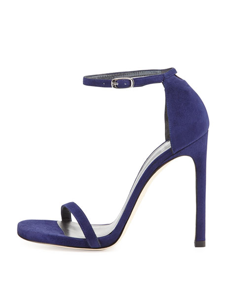 Nudist Suede Ankle-Strap Sandal, Orchid