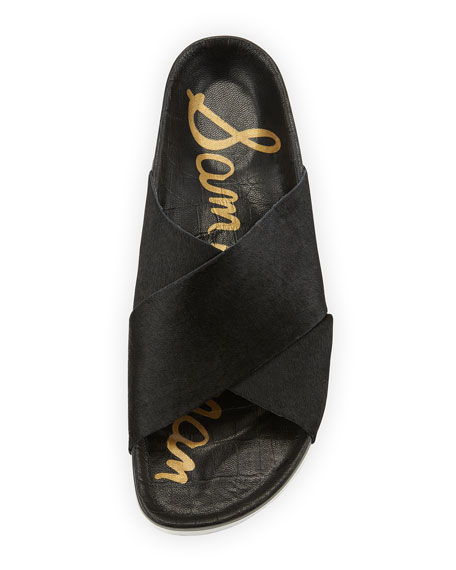 Adora Crisscross Calf Hair Sport Sandal, Black