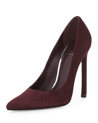 Stuart Weitzman Queen Suede Pointy-Toe Pump, Currant