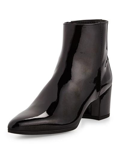 Stuart Weitzman Zepher Patent Ankle Boot, Black