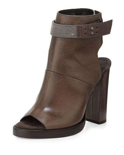Brunello Cucinelli Leather Peep-Toe Ankle Boot