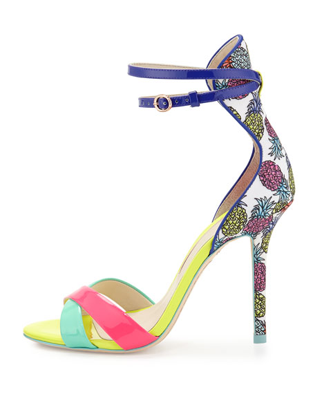 Nicole Pineapple Patent Sandal, Magenta/Aqua