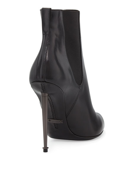 Metal-Heel Leather Ankle Bootie, Black