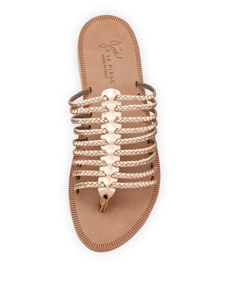 Sahara Metallic Gladiator Slide Sandal, Rose Gold