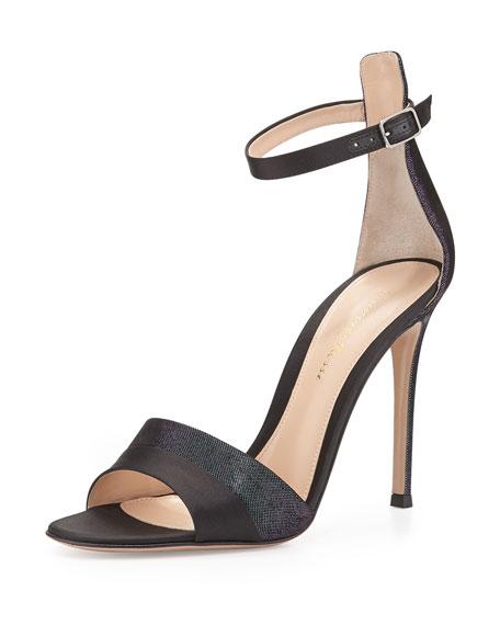 Holographic Satin Ankle-Strap Sandal