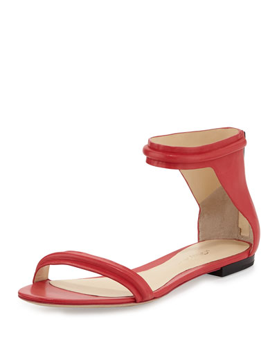 Martini Leather Flat Sandal, Raspberry