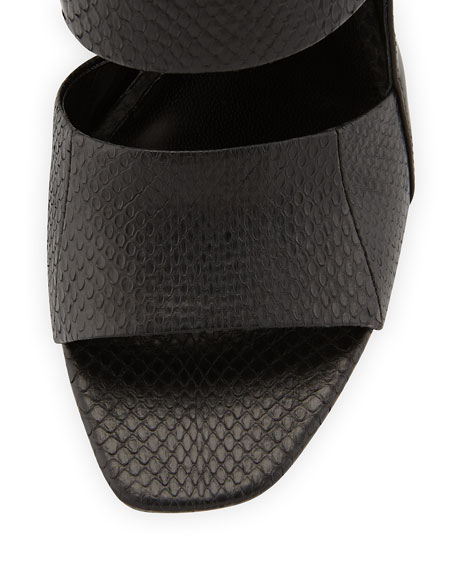 Cara Snake-Print Wedge Slide, Black