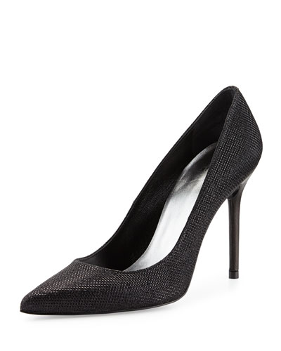 Nouveau Metallic Pointy-Toe Pump, Black
