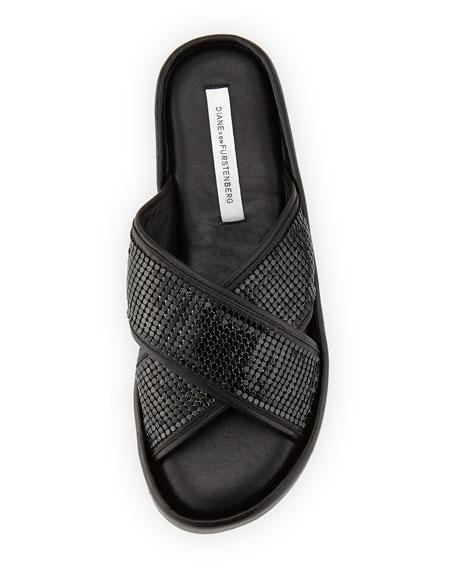 Sarita Chain-Mesh Crisscross Slide Sandal, Black