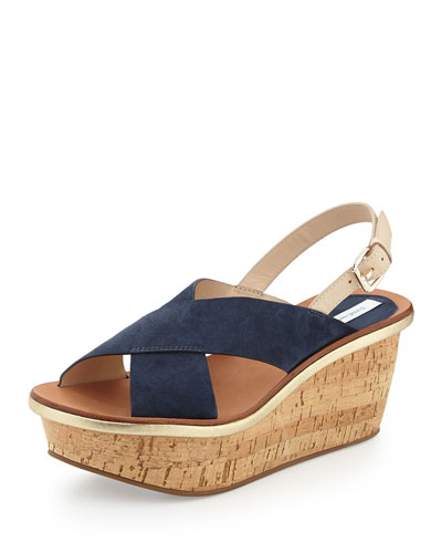 Maven Suede Wedge Sandal, Navy