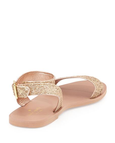coney glitter ankle-wrap sandal, rose gold