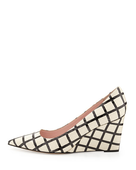 jovia snake-print grid wedge pump, cream/black