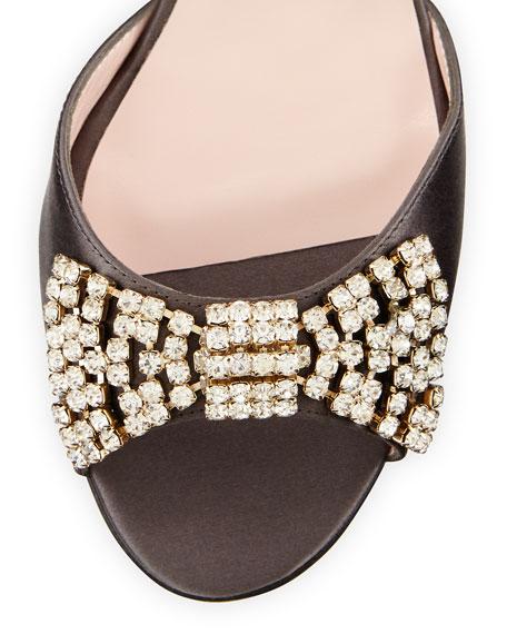 miva satin crystal bow sandal, gray