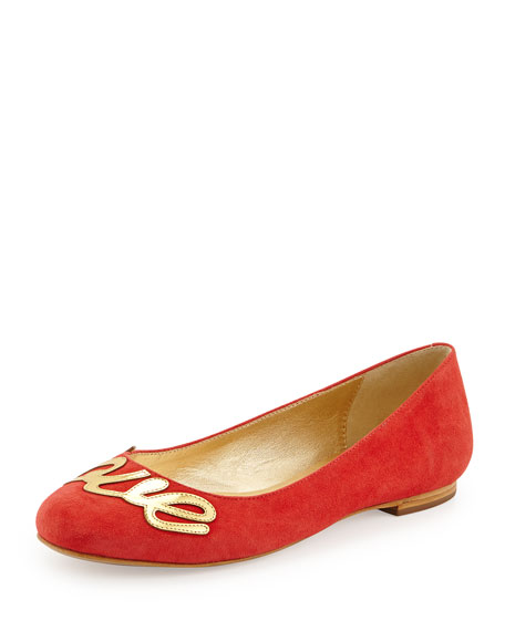 "julip suede ""love"" ballerina flat, maraschino red"