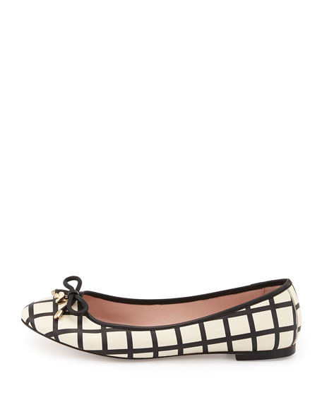 willa grid-print ballerina flat, cream/black