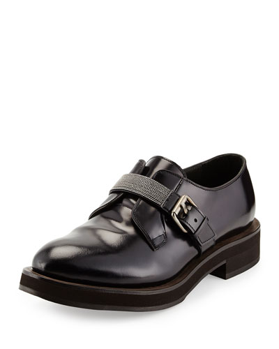 Monili Bead-Strap Calfskin Loafer, Navy