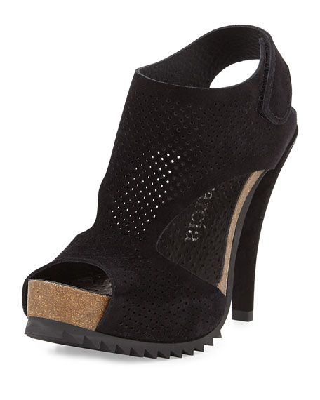 Pedro Garcia Petunia Perforated Suede Sandal, Black