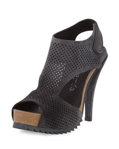 Petunia Perforated Suede Sandal, Coal