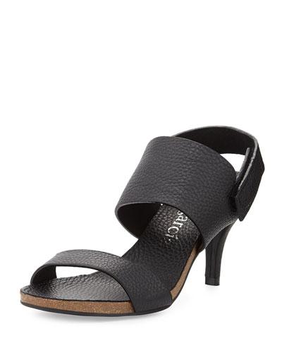 Whisper Low-Heel Leather Sandal, Black