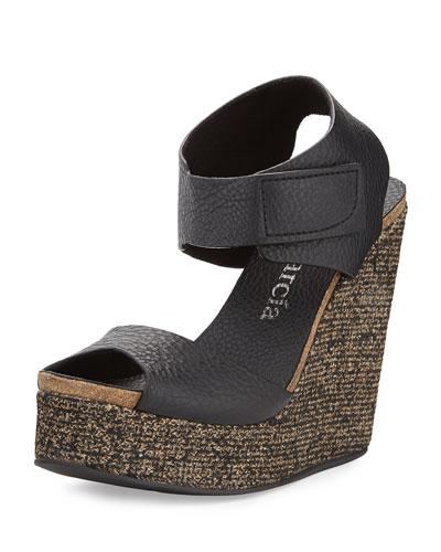 Triana Leather Wedge Sandal, Black