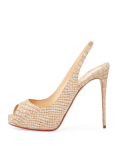 Private Number Python-Embossed Red Sole Pump, Beige