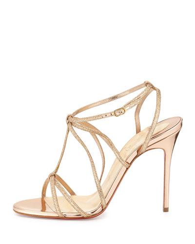 replica louboutin sneakers for men - christian louboutin glitter sandals Metallic gold crossover straps ...
