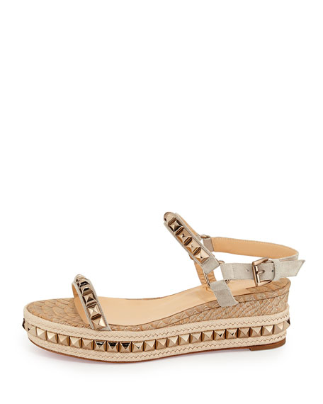 Christian Louboutin Cataclou Python-Embossed Studded Platform Red Sole Espadrille