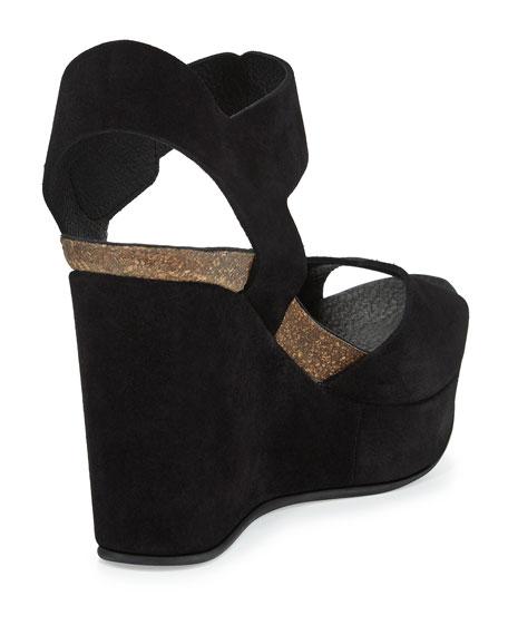 Maby Suede Wedge Sandal, Black