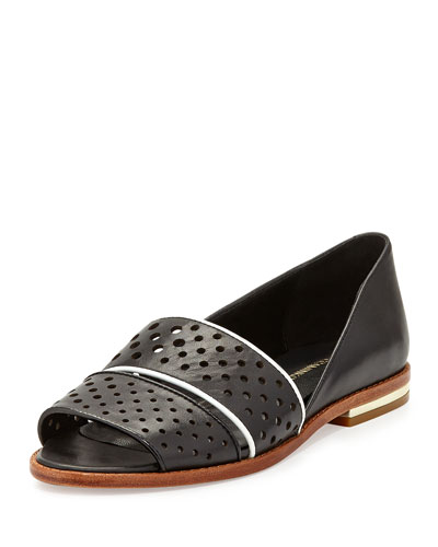 Sadie Perforated Leather Sandal, Black