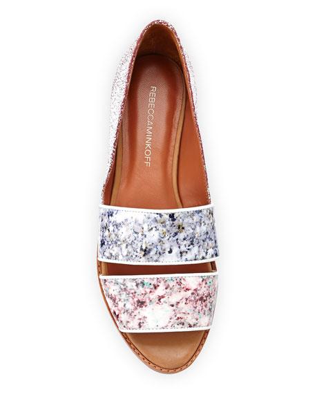 Sadie Floral-Print Leather Sandal