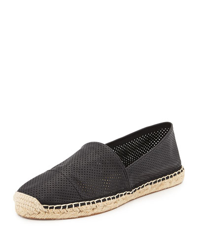 Gavin Perforated Espadrille Flat, Black