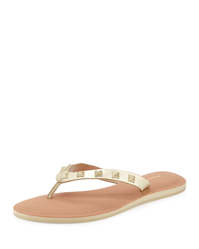 Fiona Studded Thong Sandal, Gold
