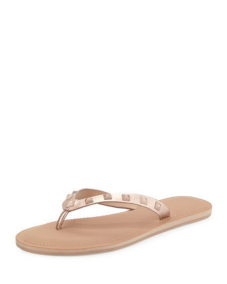 Rebecca Minkoff Fiona Studded Thong Sandal, Rose Gold