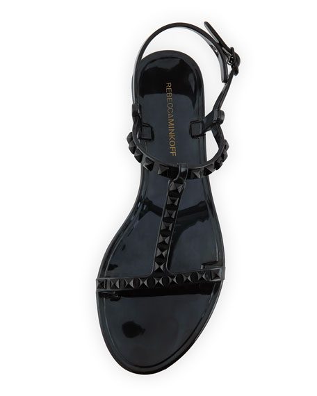 Sava Studded Jelly Sandal, Black