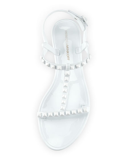 Sava Studded Jelly Sandal, White