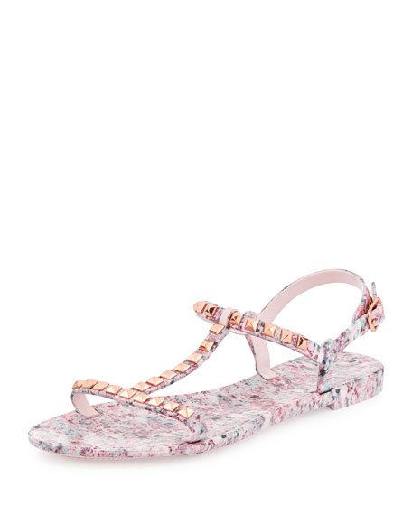 Sava Studded Jelly Sandal, Pink Multi