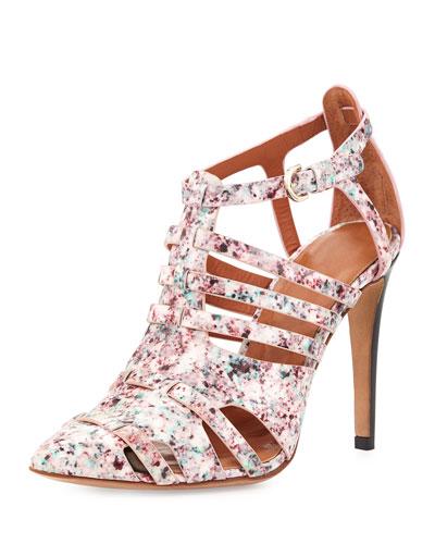 Randi Patent Floral-Print Sandal, Pink Multi