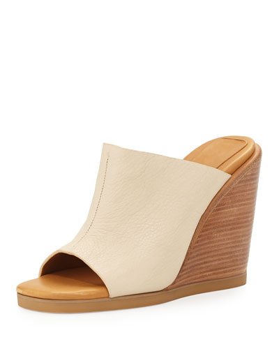 Anna Leather Wedge Slide, Ivory