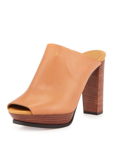 Alex Leather Platform Slide, Natural