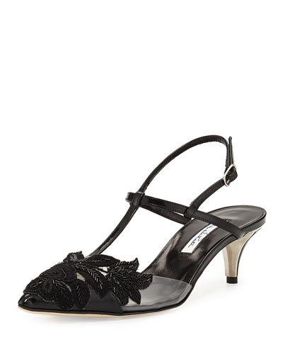 Azra Beaded Floral T-Strap Pump, Black